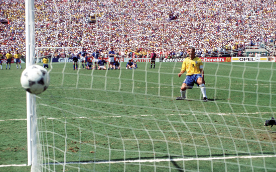 1994 World Cup Final. Pasadena, USA. 17th July, 1994. Brazil 0 v Italy 0. (Brazil won 3-2 on penalties). Brazilian captain Dunga scores the third penalty for Brazil in the shoot-out