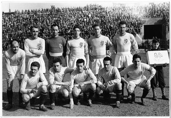 Laget mot Atalanta FC i Bergamo 23. mars 1952. Resultatet ble 1-1.