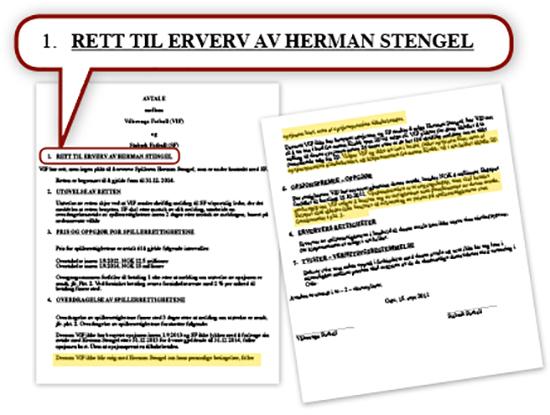 Den endelige opsjonsavtalen mellom Stabæk og Vålerenga om Herman Stengel. De gule feltene viser punktene der det står at opsjonspremien på fire millioner kroner ikke kom til fratrekk ved et kjøp av Stengel eller på noen annen måte skulle tilbakeføres til Vålerenga. Avtalen ble utformet av advokat Tor Q. Aaserød og underskrevet av Truls Haakonsen og Inge André Olsen. Under rettssaken forklarte Haakonsen, Olsen og Aaserød at de hadde forstått avtalen slik at opsjonspremien kom til fratrekk ved et senere kjøp av Stengel – motsatt av det som står i avtaleteksten.