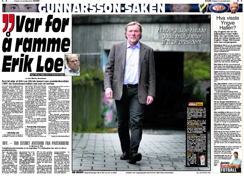Roger Halberg, som i 2011 var leder for interesseorganiasjonen for klubbene i 2. divisjon, uttalte til VG at overgangssaken skjedde for å ramme Erk Loes kanditatur som NFF-president.